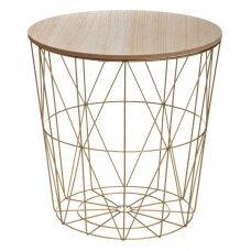 Stolić 41 cm drvo/ metal bakar